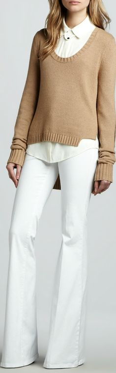 Fall / winter - business casual - Work outfit - all white - white shirt + white pants + camel sweater