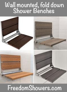 Wide wall mounted Shower Seats with brushed stainless frame are available with HDPE resin slats in either a Luxe wood grain look or a mono grain look. Select color to suit your shower design. Folding Seat, Bath Seats, Shower Seat, Folded Up, Polished Chrome, Floor Chair, Home Remodeling, Wall Mount, Showers
