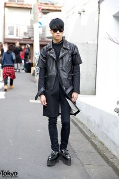 Taiga is a friendly 18-year-old guy who we have been street snapping in #Harajuku for over 2 years. His look features a Christian Dada short sleeve leather jacket, skinny jeans & Christian Dada studded platform loafers.  #tokyofashion   #street snap