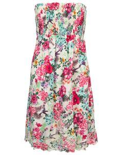 Floral Print Bandeau Dress   Multi   Accessorize