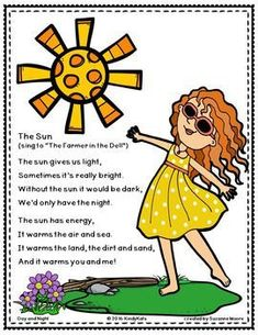 Day, Night, Sun, Moon, Shadows Songs and Rhymes Kindergarten Poems, Preschool Poems, Kids Poems, Preschool Garden, Children Songs, Preschool Music, Kindergarten Graduation, Children Clothes, Day And Night Song