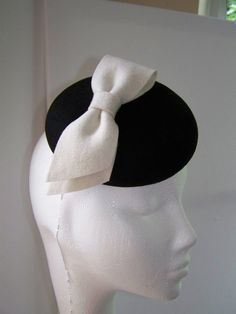 Womens Black Wool Cocktail Hat with Ivory Bow by MindYourBonce, £55.00