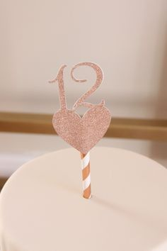 Rose Gold 12th Birthday Cake Topper, 12 Cake Pick, Rose Gold Glitter with Heart, Birthday for Girl, 12 Year Old Birthday, Bday, Pink, Gold