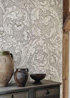 batchelors button wallpaper design by william morris Linen Wallpaper, Neutral Wallpaper, Interior Wallpaper, Kitchen Wallpaper, Room Wallpaper, Wallpaper Ideas, William Morris Wallpaper, Morris Wallpapers, William Morris Tapet