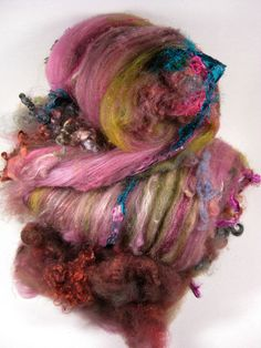 Kolkata Wild Card Bling Batts for Spinning and by yarnwench, $36.00