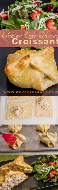 """Chicken Cream Cheese Croissants - Devour Dinner. Cream Cheese and shredded chicken filled in a flaky croissant. Delicious. Quick and easy for even busy nights. Devour Dinner will help you find """"What's for Dinner?"""""""