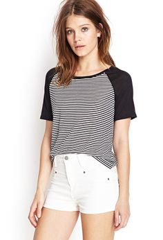 Soft Knit Striped Baseball Tee #SummerForever #Basics
