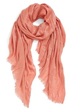 Need for spring: lightweight coral wrap.