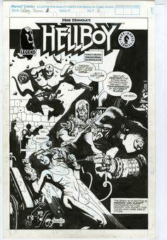 Hellboy promo comic page by Mike Mignola