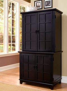 Home Styles Arts And Crafts Compact Computer Armoire With Hutch Black Armoires At Desks