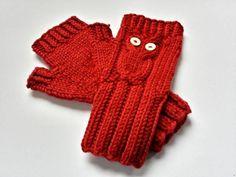 Fingerlose Armstulpen Eule Biowolle rot Kinder von frostpfoetchen auf DaWanda.com