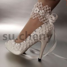 "3"" 4"" heel satin white ivory lace ribbon ankle open toe Wedding shoes size 5-11 