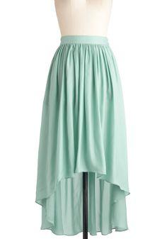 Sea the Light Skirt - Long, Green, Solid, High-Low Hem, Pastel, Spring, Mint, Beach/Resort