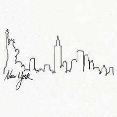tatouage skyline new york - Bing images New York Tattoo, Nyc Tattoo, Ny Skyline Tattoo, New York Quotes, Bridge Tattoo, Landscape Pencil Drawings, New York Outfits, New York Life, Small Girl Tattoos