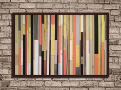 Modern Reclaimed Wood Art Wall Sculpture in Pink, Yellow, Grey, Black and White Stripes - Available NOW