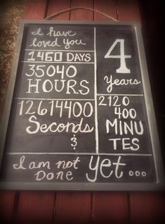 4 year anniversary chalkboard! Proud to say in January we've been dating for FOUR YEARS! :)