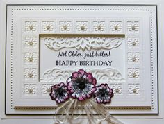 PartiCraft (Participate In Craft): Not Older, Just Better Canadian Background, Elegant Lace Edger, Per Peonies,