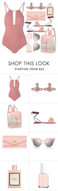 """Beach baby"" by sunnydays4everkh ❤ liked on Polyvore featuring Melissa Odabash, Vivienne Westwood, Mercedes Castillo, Fendi, Gucci and Eos"