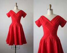 Hey, I found this really awesome Etsy listing at https://www.etsy.com/listing/255378028/50s-dress-red-taffeta-party-dress