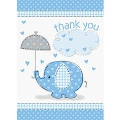 Unique Baby Shower Thank You Notes - Blue Umbrellaphant - http://babyentry.com/baby/baby-stationery/thank-you-cards/unique-baby-shower-thank-you-notes-blue-umbrellaphant-com/