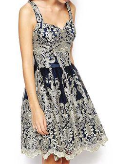 robe plissée bordée à bretelle -bleu