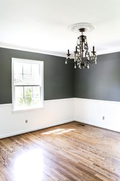 Dining Room Beginnings | blesserhouse.com - A dining room gets a quick paint makeover with Benjamin Moore semi-gloss Simply White and eggshell Kendall Charcoal for a high contrast look.