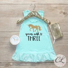 Birthday Girl Dress / Baby Girl Clothes Young Wild Three Unicorn 3 Year Old Outfit Third Birthday Shirt 3rd Birthday Girl Outfit Three 169 by CourtneyLeighPrints on Etsy https://www.etsy.com/listing/467816606/birthday-girl-dress-baby-girl-clothes