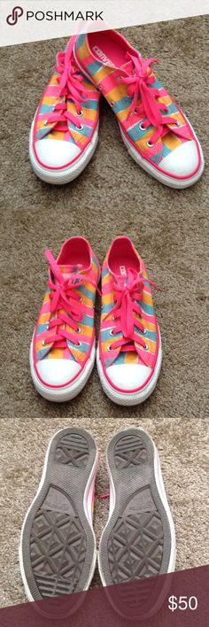 Converse All-Star Striped Chuck Taylors Excellent condition. Worn once. Vibrantly colored Converse with stripes of turquoise, orange and pink. Converse size 4. Women's size 6. Converse Shoes Sneakers