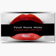 Red Lips with Lipstick Custom Business Cards For Make-Up Artists