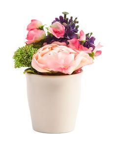 8in Faux Flowers In Pot @TJ MAXX