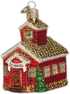 Old World Christmas SCHOOL HOUSE Blown Glass Ornament Mercks 20007 | eBay