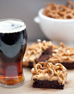 Guiness Brownie Pretzel Bars ~ Butterscotch Ganache