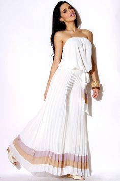 #clubwear21.com #dress #fashion DATE IN ITALY white chiffon strapless pleated wide leg jumpsuit-$79.00