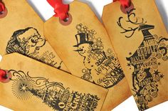 Large coffee stained Christmas gift tags vintage by TodoPapel, $9.30