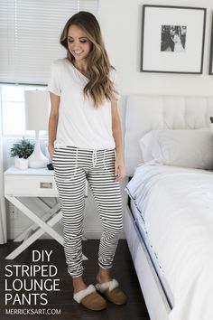 DIY Striped Lounge pants -- merricksart.com