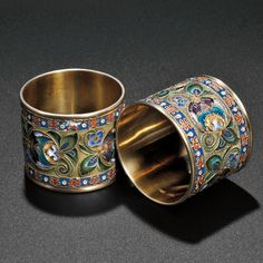Pair of Faberge Gilded Silver and Enamel Napkin Rings, Moscow, 1908-17 (Lot 387, Estimate $6,000-$8,000)