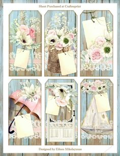 Each of these Tags within a Tag features a Shabby Cottage Background with Watercolor Floral Vignettes ... so Darling and no two tags are alike. The Tags would be great for a Journal, Mini Album, handmade Greeting Card,or any Altered Art or Scrapbook application. Enjoy!