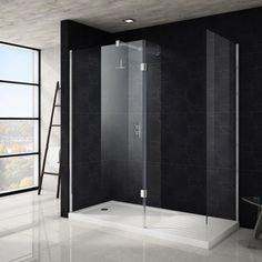 Saturn Walk In Shower Enclosure with Side & Hinged Return Panel & Tray x Walk In Shower Tray, Walk In Shower Designs, Walk In Shower Enclosures, Screen Enclosures, Large Shower, Glass Shower, Wet Room Screens, Shower Cubicles, Shower Panels