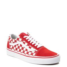 Vans Old Skool Checkerboard Skate Shoe - Red / White - Vans Old Skool Checkerboard Skate Shoe – Red / White Vans Shoes Fashion, Vans Shoes Women, Girls Shoes, Cute Shoes For Teens, Vans Girls, Trendy Shoes, Ladies Shoes, Women Sandals, Hype Shoes