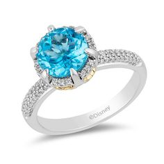 Rings Enchanted Disney Aladdin Swiss Blue Topaz and CT. Diamond Frame Ring in Sterling Silver and Gold Enchanted Disney Aladdin Swiss Blue Topaz and CT. Diamond Frame Ring in Sterling Silver and Gold Modern Jewelry, Custom Jewelry, Enchanted Disney Fine Jewelry, Disney Enchanted, Blue Topaz Stone, Disney Jewelry, Natural Diamonds, White Diamonds, Moissanite