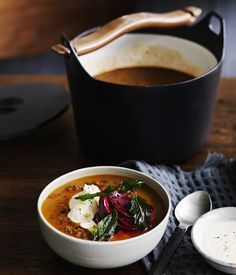 Persian red lentil soup with tahini, beetroot and fried mint :: Gourmet Traveller