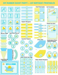 Birthday Rubber Duck Party, DIY Rubber Ducky Party, Duck Birthday Party Supplies, Printable Rubber Duck, DIY Ducky -By Printables 4 Less - Kids party - Yorgo Diy Elephant Birthday Party, First Birthday Party Themes, Elephant Party, Baby First Birthday, Birthday Ideas, Rubber Ducky Party, Rubber Ducky Birthday, Party Kit, Diy Party