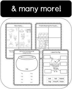 The Three Little Pigs Workbook (17 Different Activities, 3 3 Little Pigs Activities, Math Activities, Fairy Tale Theme, Fairy Tales, School Projects, Projects To Try, Three Little Pigs, Do You Remember, Nursery Rhymes