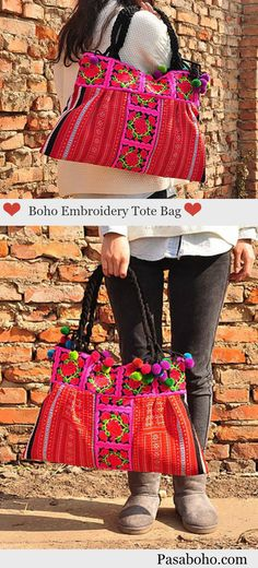 $42 - A Hmong Embroidery Tote Bag with Ethnic Tribal Embroidery from Pasaboho. This Bag exhibits brilliant colours with beautiful embroidered floral patterns.