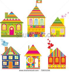 stock vector : Collection of cute houses in a whimsical childlike style. Isolated on White Background.  Vector Illustration.