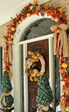 See how I took apart my old fall wreath that was in need of freshening up! I reused it to create a newup to date look for our Fall front entrance. Visit Our Southern Home for the details! herbst Simple Touches Fall Home Tour Halloween Door Decorations, Thanksgiving Decorations, Fall Decorations, Vintage Thanksgiving, Outdoor Decorations, Autumn Decorating, Porch Decorating, Decorating Ideas, Fall Home Decor