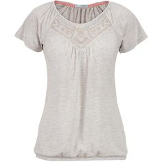 maurices Heathered Tee With Embroidered Yoke ($29) ❤ liked on Polyvore featuring tops, t-shirts, grey, grey t shirt, banded bottom tops, embroidery t shirts, gray t shirt and metallic top