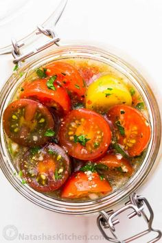 Marinated cherry tomatoes are a colorful, juicy and tasty side dish that is perfect for summer parties, buffets and large gatherings because it can be made hours in advance. This is one of our favorite cherry tomato recipes! Italian marinated tomatoes with just 4 ingredients! | natashaskitchen.com Marinated Cherry Tomatoes Recipe, Italian Tomatoes Recipe, Cherry Tomato Recipes, Marinated Vegetables, Italian Recipes, Orange Tomatoes Recipes, Canning Cherry Tomatoes, Healthy Side Dishes, Vegetable Side Dishes