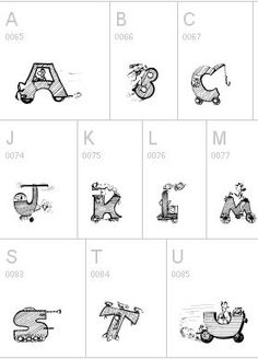 Moving alphabet font - applique and embroidery