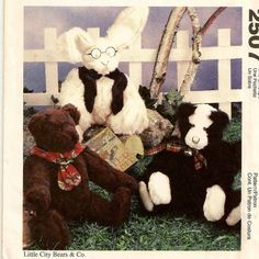 A Stuffed Fabric, Flexible Joint Cat, Bear and Bunny Pattern by So Sew Some!